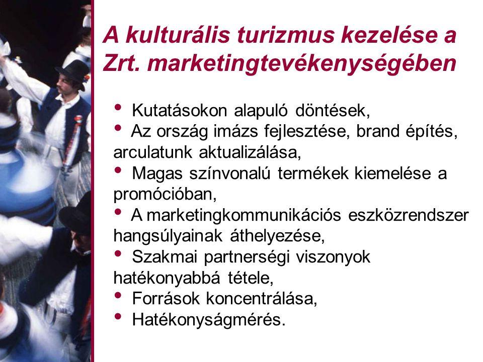 A kulturális turizmus kezelése a Zrt. marketingtevékenységében