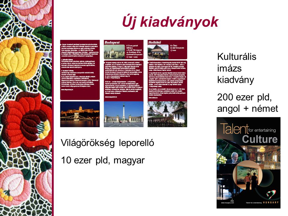 Új kiadványok Kulturális imázs kiadvány 200 ezer pld, angol + német