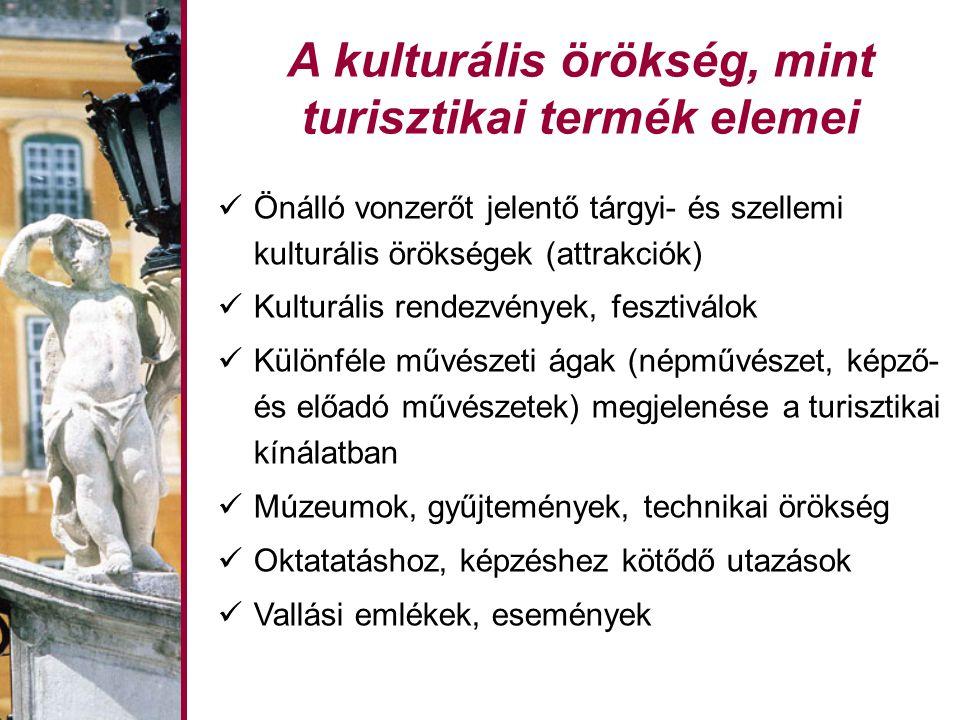 A kulturális örökség, mint turisztikai termék elemei