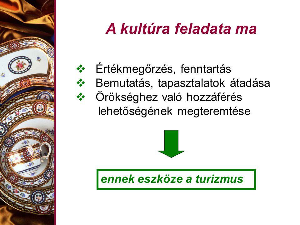 A kultúra feladata ma Értékmegőrzés, fenntartás