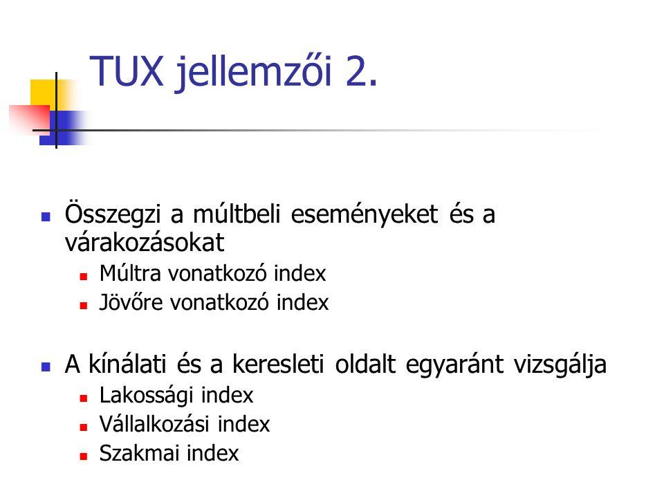 TUX jellemzői 2. Összegzi a múltbeli eseményeket és a várakozásokat
