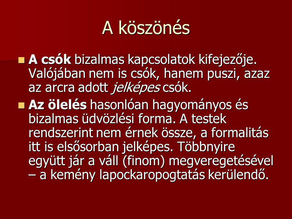 A köszönés A csók bizalmas kapcsolatok kifejezője. Valójában nem is csók, hanem puszi, azaz az arcra adott jelképes csók.