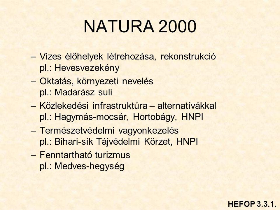 NATURA 2000 Vizes élőhelyek létrehozása, rekonstrukció pl.: Hevesvezekény. Oktatás, környezeti nevelés pl.: Madarász suli.