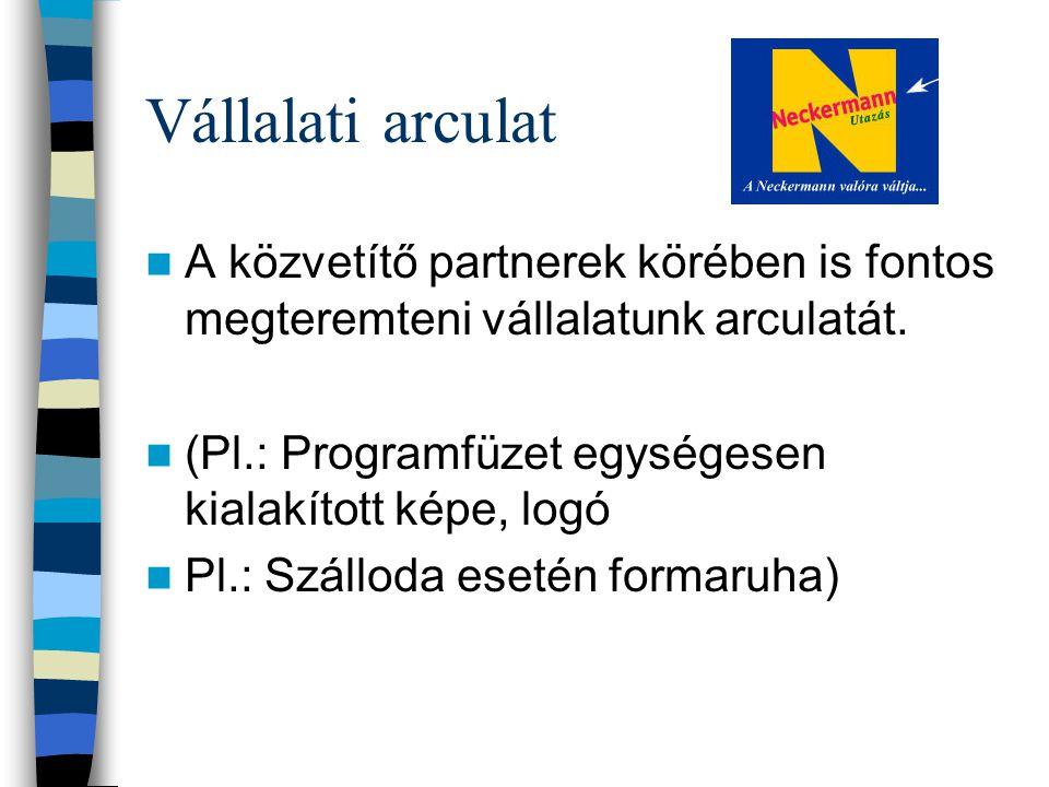 Vállalati arculat A közvetítő partnerek körében is fontos megteremteni vállalatunk arculatát. (Pl.: Programfüzet egységesen kialakított képe, logó.