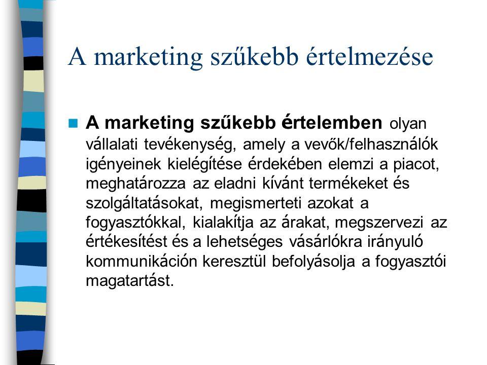 A marketing szűkebb értelmezése