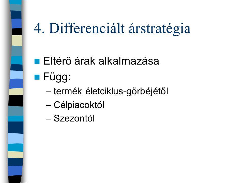 4. Differenciált árstratégia