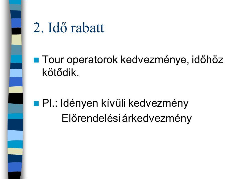 2. Idő rabatt Tour operatorok kedvezménye, időhöz kötődik.
