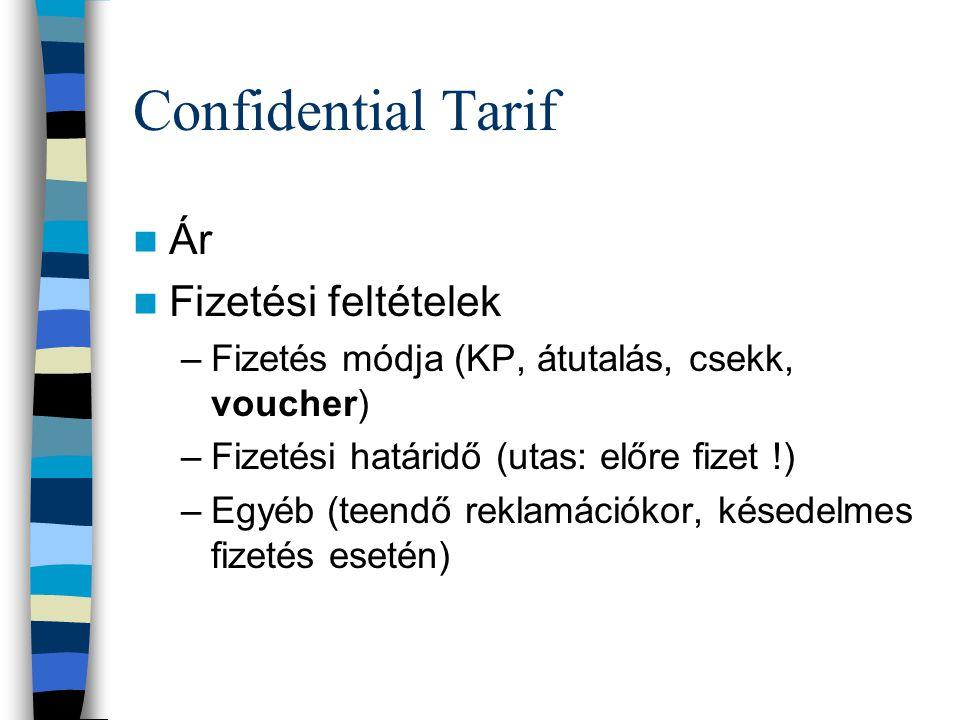 Confidential Tarif Ár Fizetési feltételek