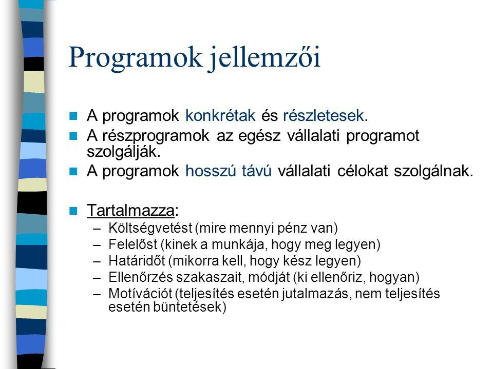 Programok jellemzői A programok konkrétak és részletesek.