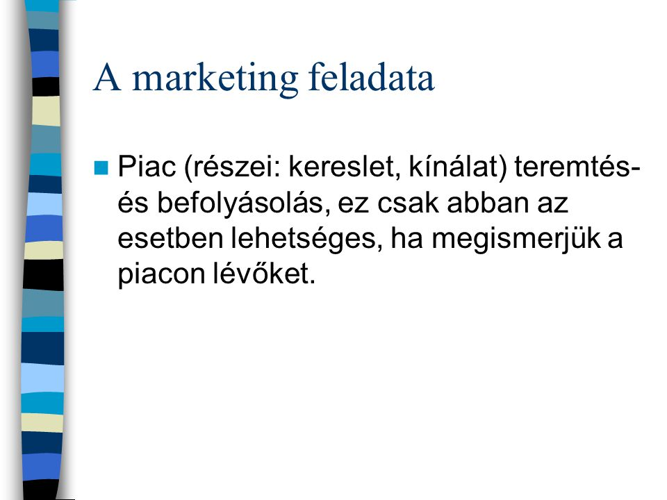 A marketing feladata