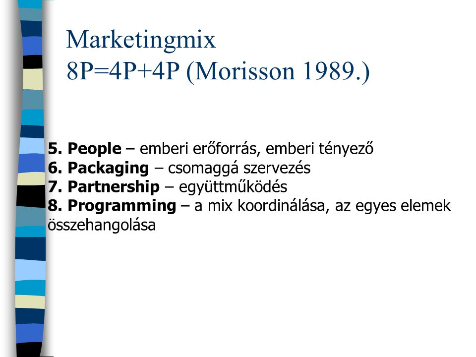 Marketingmix 8P=4P+4P (Morisson 1989.)