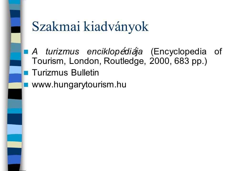 Szakmai kiadványok A turizmus enciklopédiája (Encyclopedia of Tourism, London, Routledge, 2000, 683 pp.)