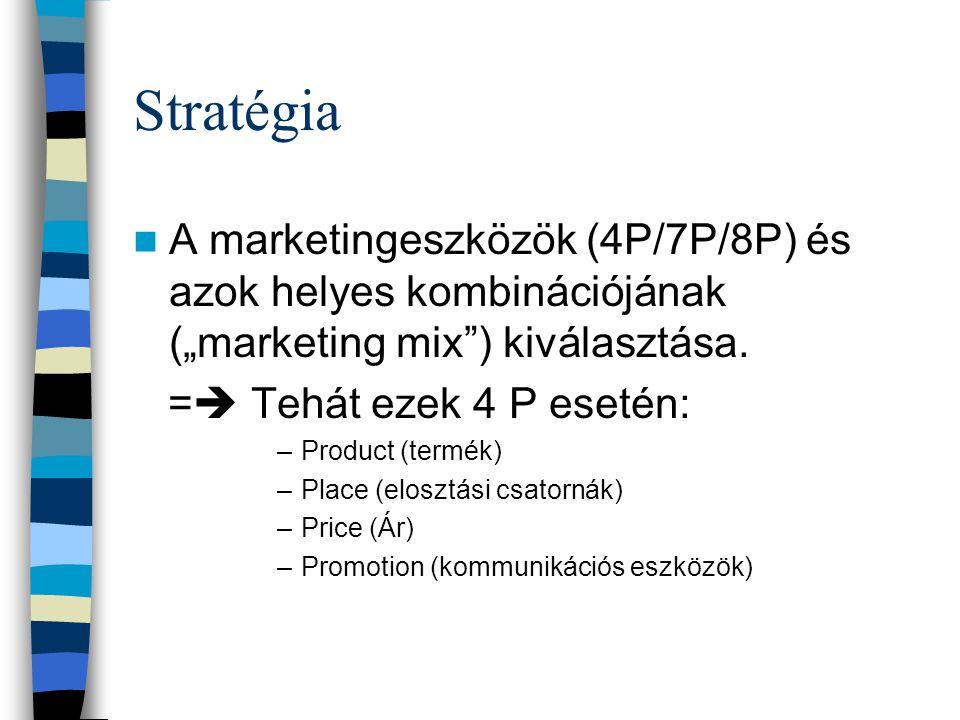 """Stratégia A marketingeszközök (4P/7P/8P) és azok helyes kombinációjának (""""marketing mix ) kiválasztása."""