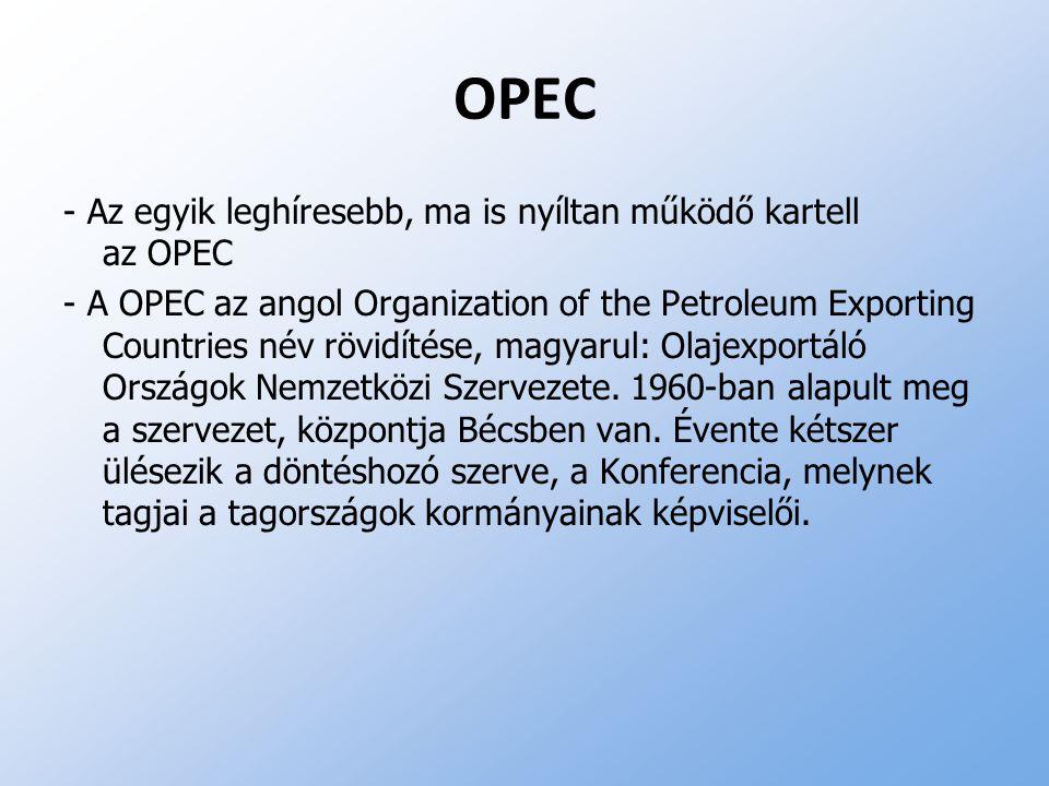 OPEC - Az egyik leghíresebb, ma is nyíltan működő kartell az OPEC