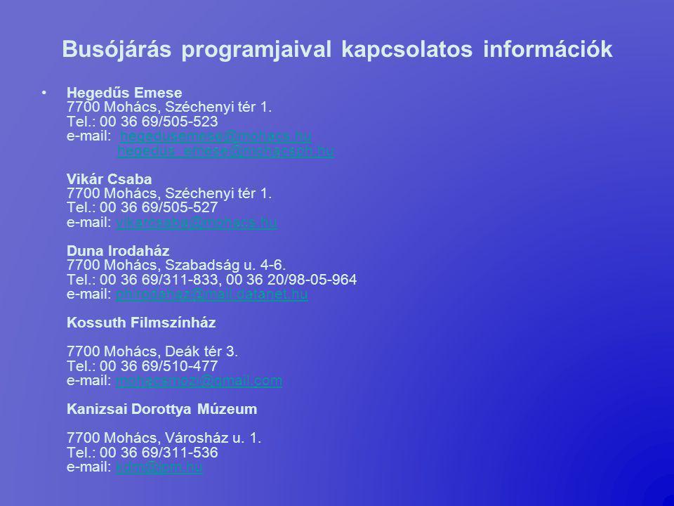 Busójárás programjaival kapcsolatos információk