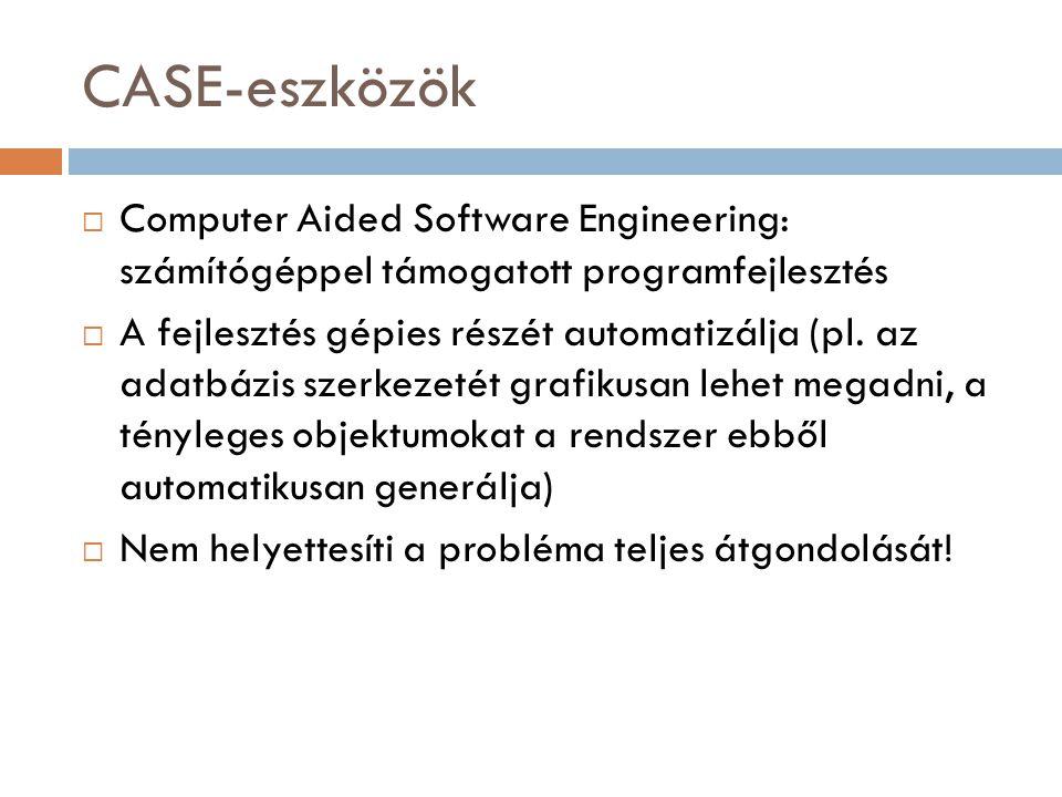 CASE-eszközök Computer Aided Software Engineering: számítógéppel támogatott programfejlesztés.