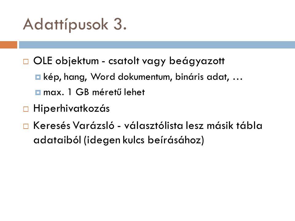 Adattípusok 3. OLE objektum - csatolt vagy beágyazott Hiperhivatkozás