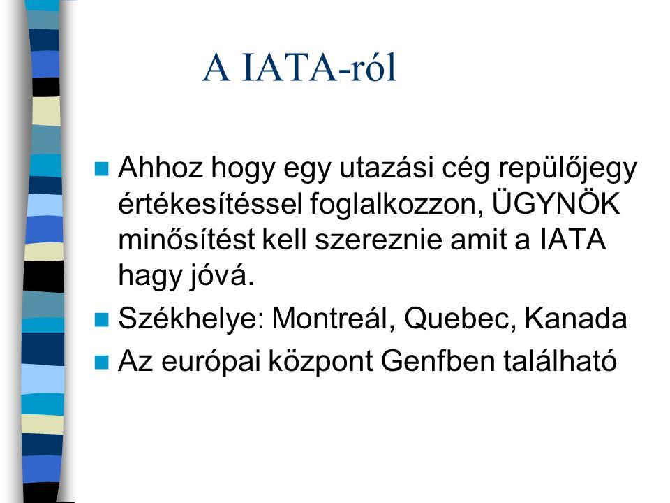 A IATA-ról Ahhoz hogy egy utazási cég repülőjegy értékesítéssel foglalkozzon, ÜGYNÖK minősítést kell szereznie amit a IATA hagy jóvá.