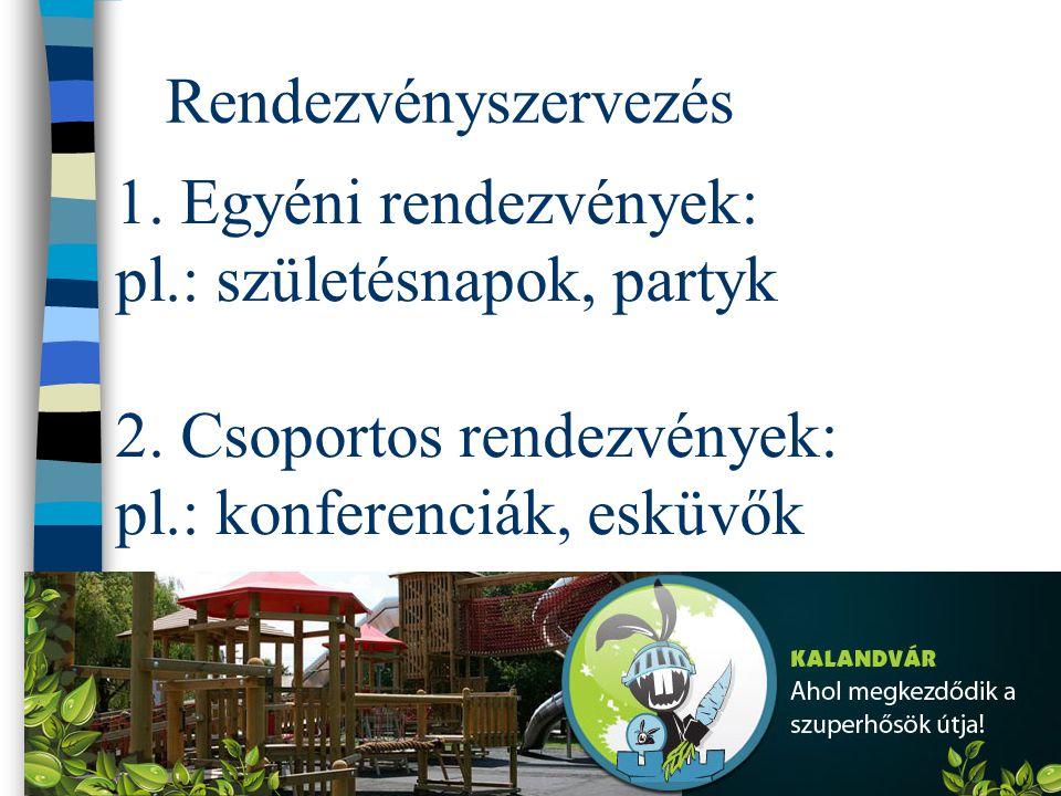 Rendezvényszervezés 1. Egyéni rendezvények: pl.: születésnapok, partyk 2.