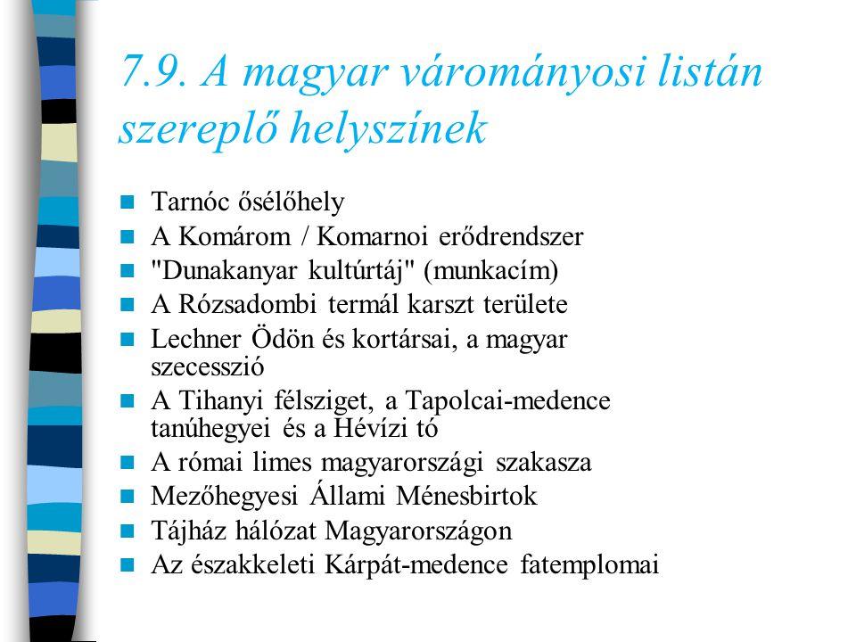 7.9. A magyar várományosi listán szereplő helyszínek