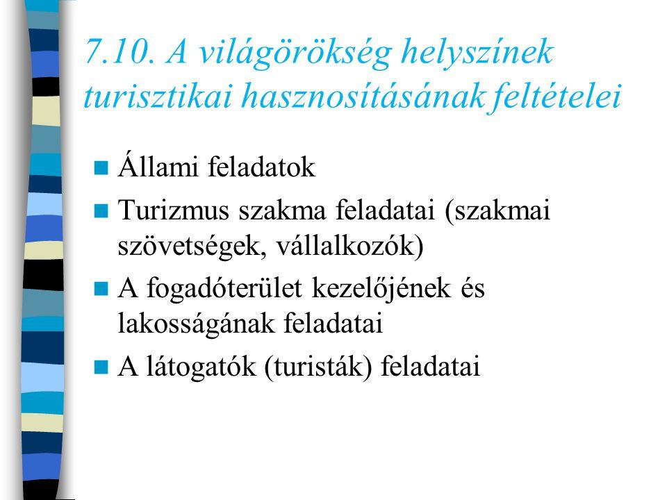 7.10. A világörökség helyszínek turisztikai hasznosításának feltételei
