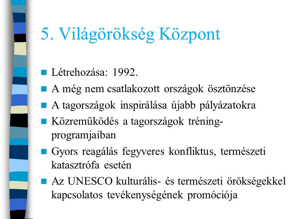 5. Világörökség Központ Létrehozása: 1992.