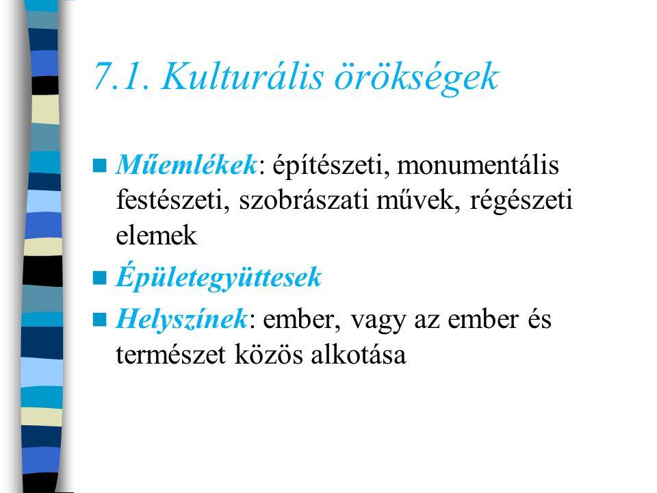 7.1. Kulturális örökségek Műemlékek: építészeti, monumentális festészeti, szobrászati művek, régészeti elemek.