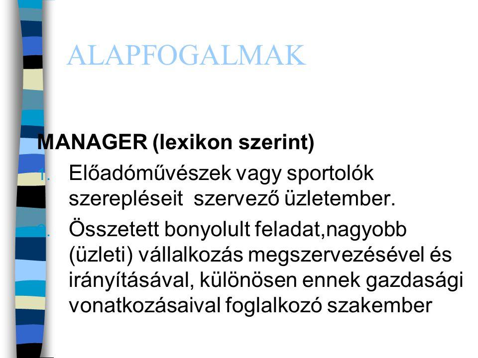 ALAPFOGALMAK MANAGER (lexikon szerint)