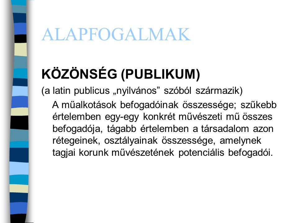 ALAPFOGALMAK KÖZÖNSÉG (PUBLIKUM)