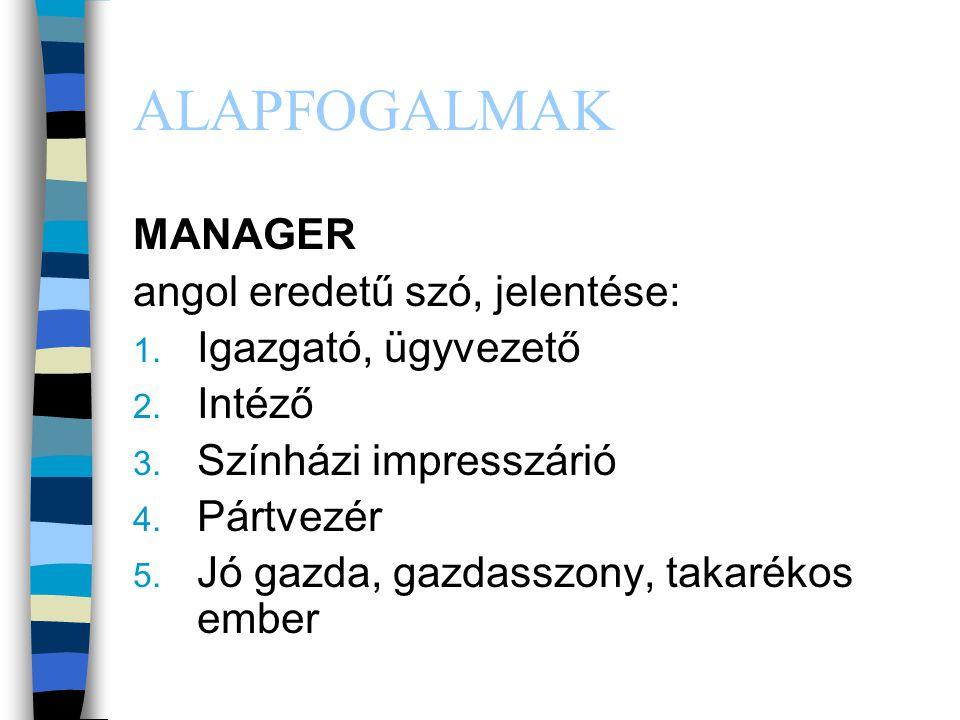 ALAPFOGALMAK MANAGER angol eredetű szó, jelentése: Igazgató, ügyvezető
