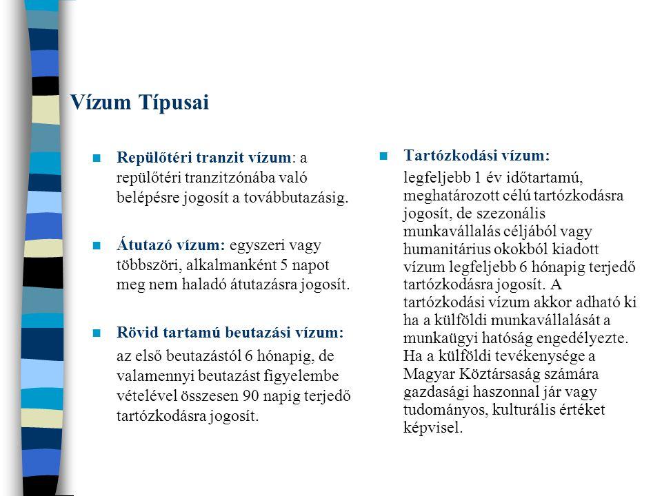 Vízum Típusai Repülőtéri tranzit vízum: a repülőtéri tranzitzónába való belépésre jogosít a továbbutazásig.
