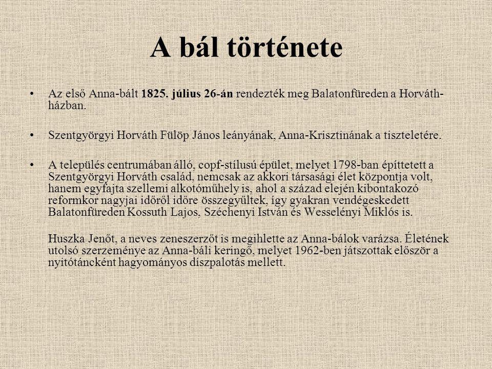 A bál története Az első Anna-bált 1825. július 26-án rendezték meg Balatonfüreden a Horváth-házban.