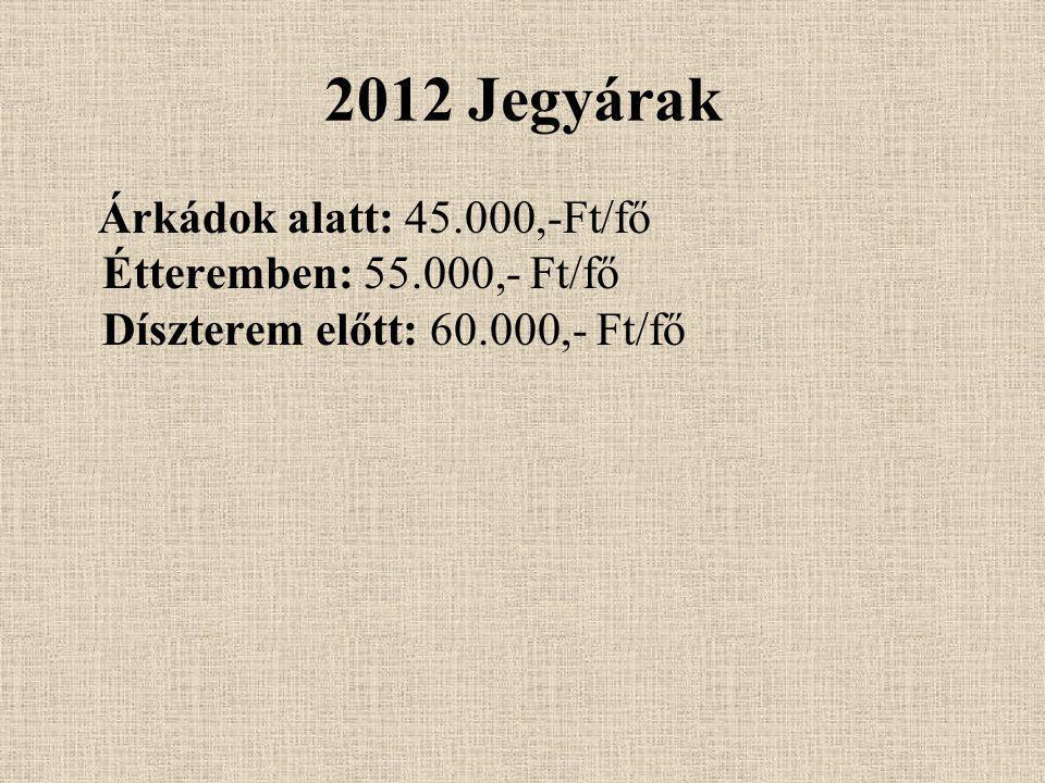 2012 Jegyárak Árkádok alatt: 45.000,-Ft/fő Étteremben: 55.000,- Ft/fő Díszterem előtt: 60.000,- Ft/fő.