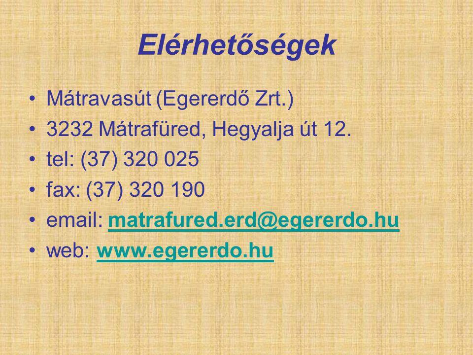 Elérhetőségek Mátravasút (Egererdő Zrt.)