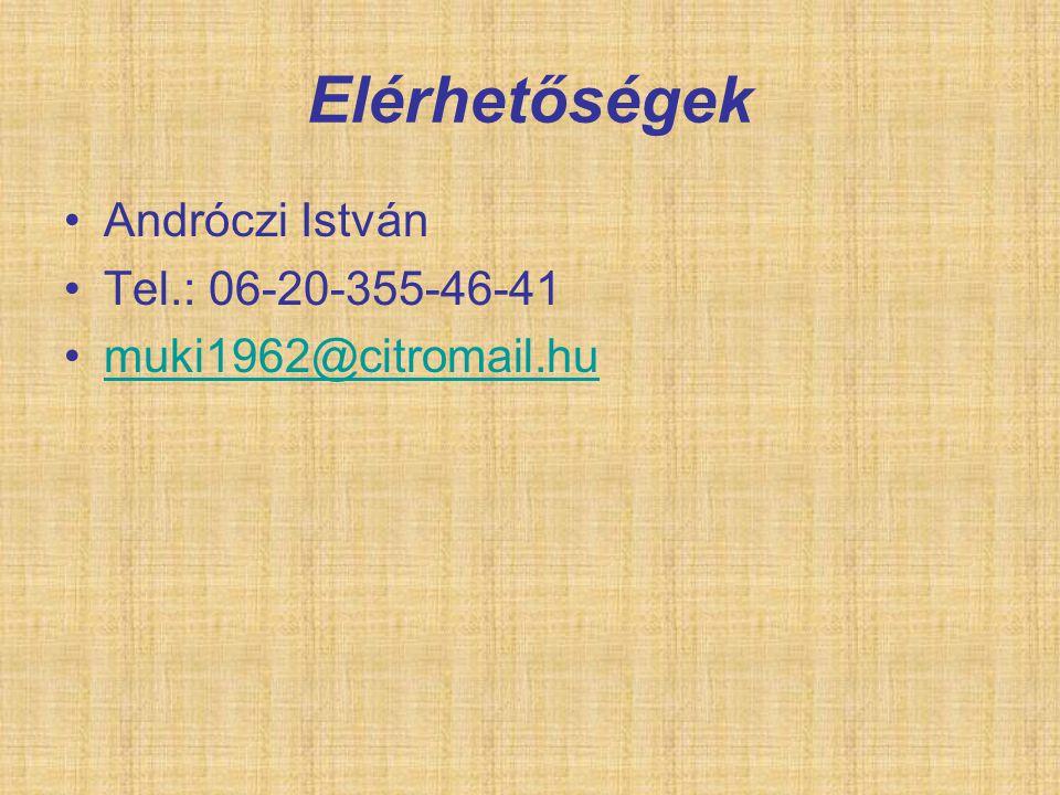 Elérhetőségek Andróczi István Tel.: 06-20-355-46-41