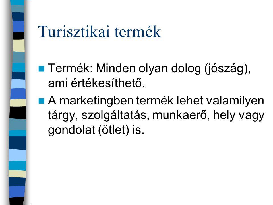 Turisztikai termék Termék: Minden olyan dolog (jószág), ami értékesíthető.