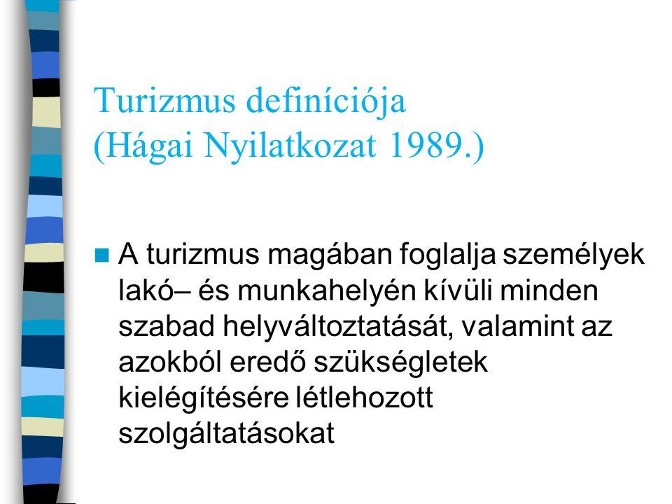 Turizmus definíciója (Hágai Nyilatkozat 1989.)