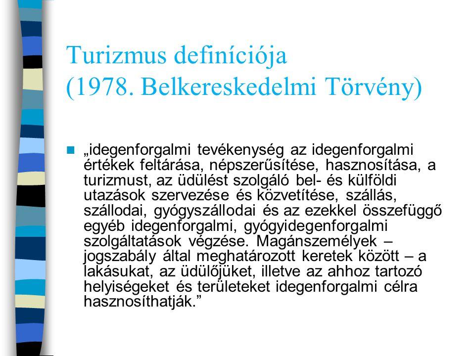 Turizmus definíciója (1978. Belkereskedelmi Törvény)