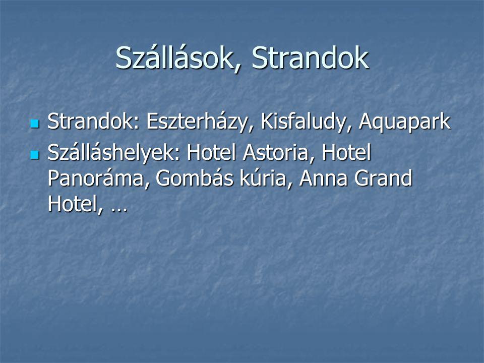 Szállások, Strandok Strandok: Eszterházy, Kisfaludy, Aquapark