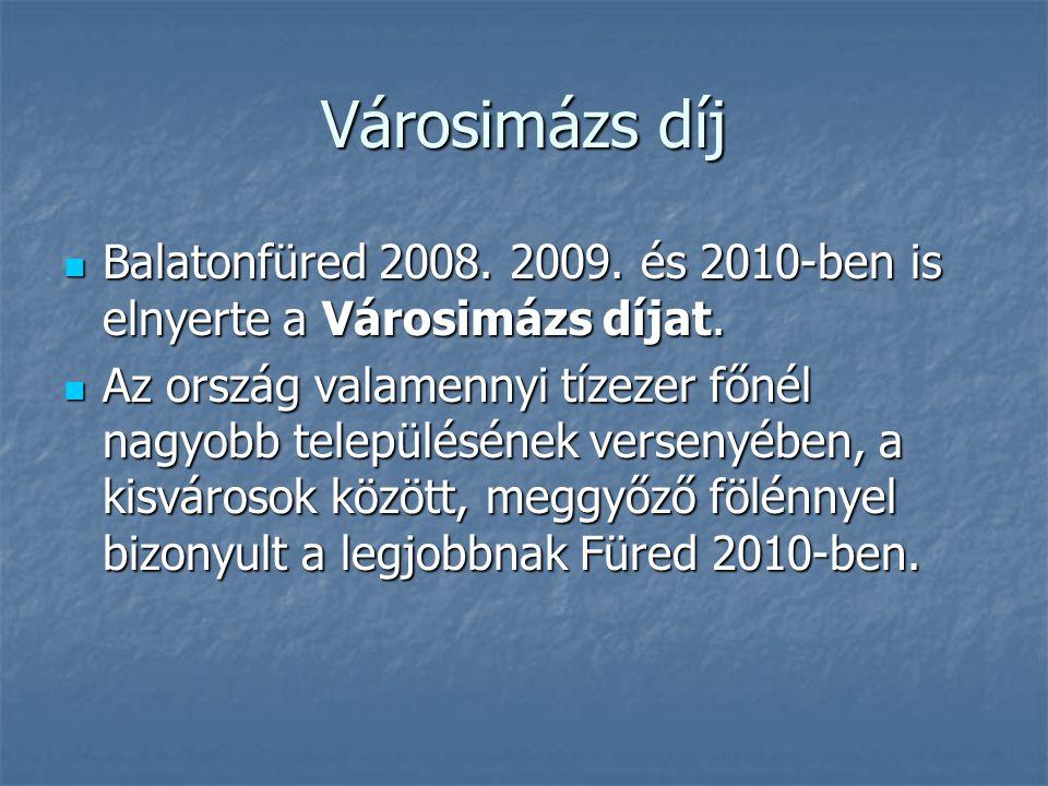 Városimázs díj Balatonfüred 2008. 2009. és 2010-ben is elnyerte a Városimázs díjat.