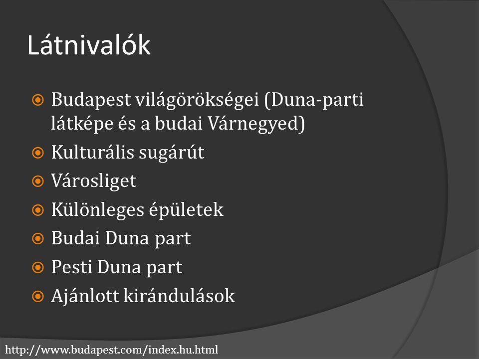 Látnivalók Budapest világörökségei (Duna-parti látképe és a budai Várnegyed) Kulturális sugárút. Városliget.