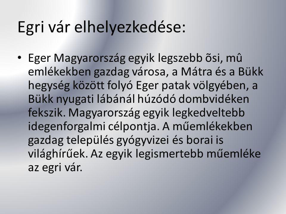 Egri vár elhelyezkedése: