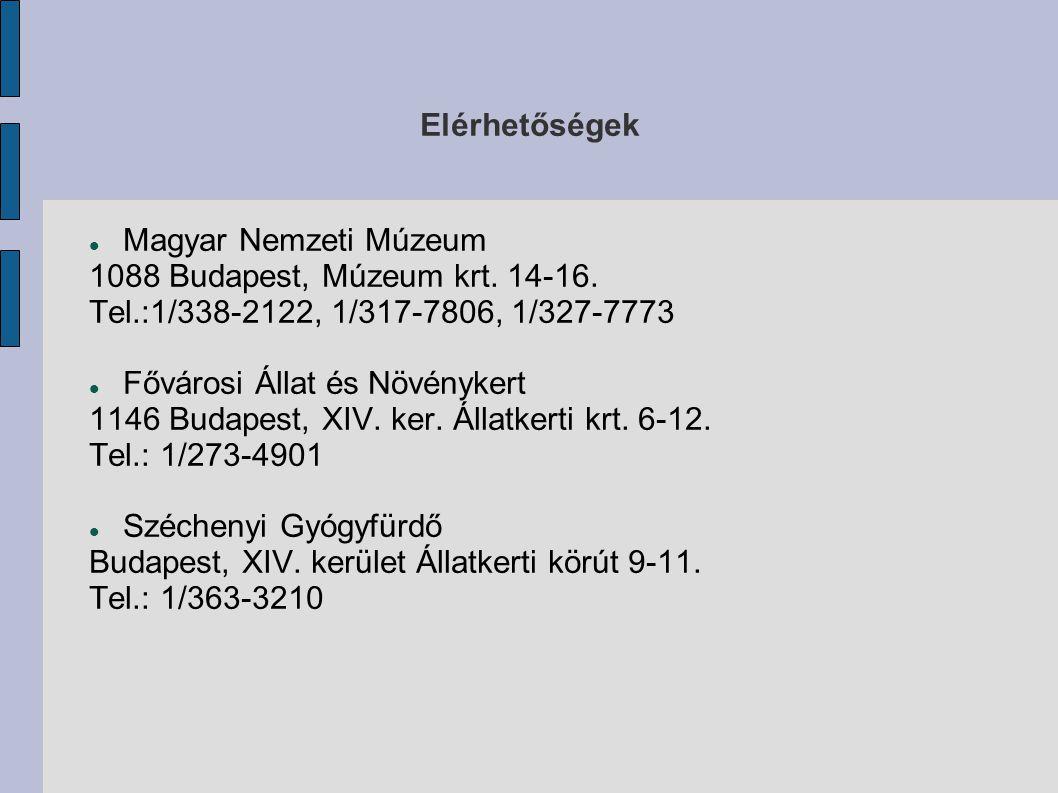 Elérhetőségek Magyar Nemzeti Múzeum. 1088 Budapest, Múzeum krt. 14-16. Tel.:1/338-2122, 1/317-7806, 1/327-7773.