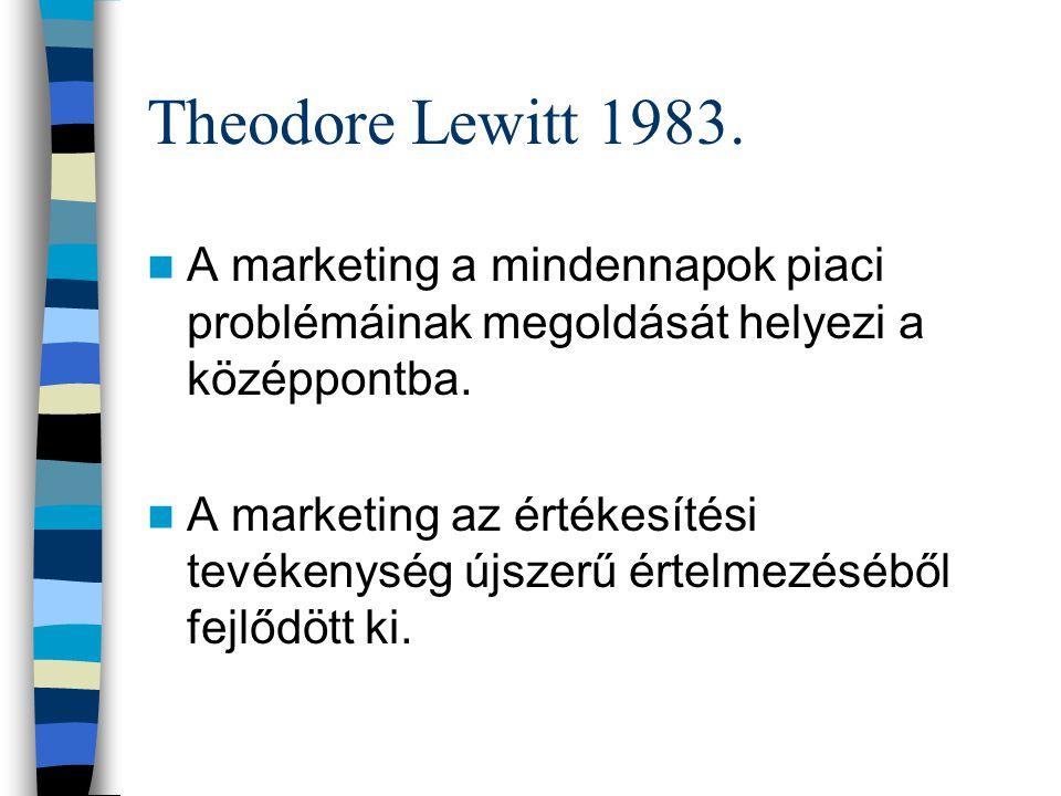 Theodore Lewitt 1983. A marketing a mindennapok piaci problémáinak megoldását helyezi a középpontba.