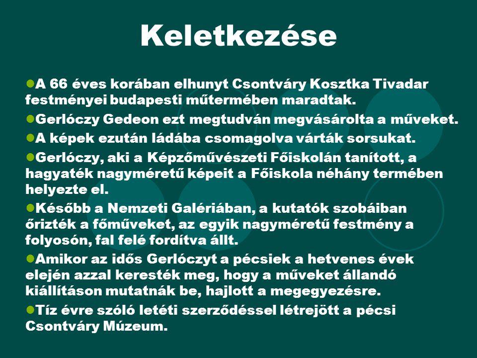 Keletkezése A 66 éves korában elhunyt Csontváry Kosztka Tivadar festményei budapesti műtermében maradtak.