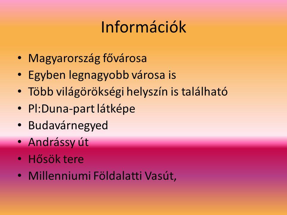 Információk Magyarország fővárosa Egyben legnagyobb városa is