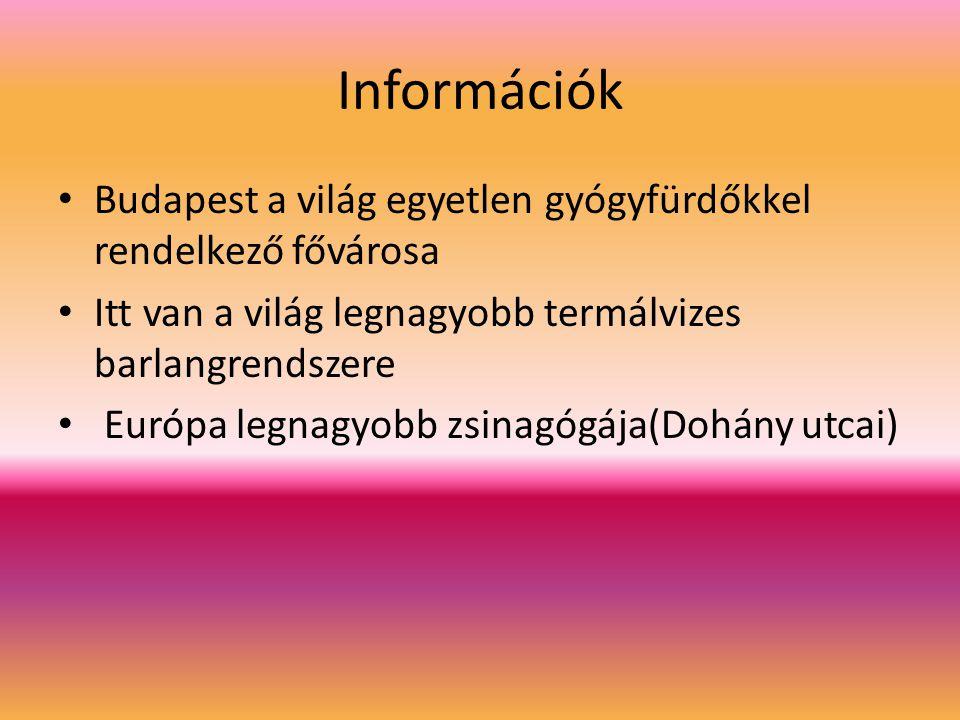 Információk Budapest a világ egyetlen gyógyfürdőkkel rendelkező fővárosa. Itt van a világ legnagyobb termálvizes barlangrendszere.