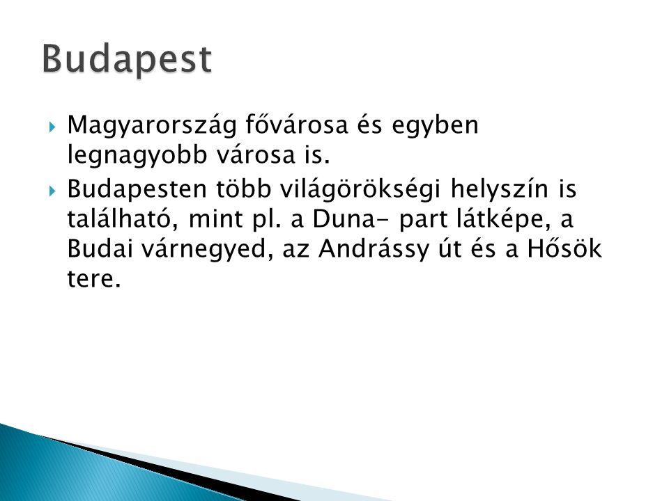 Budapest Magyarország fővárosa és egyben legnagyobb városa is.