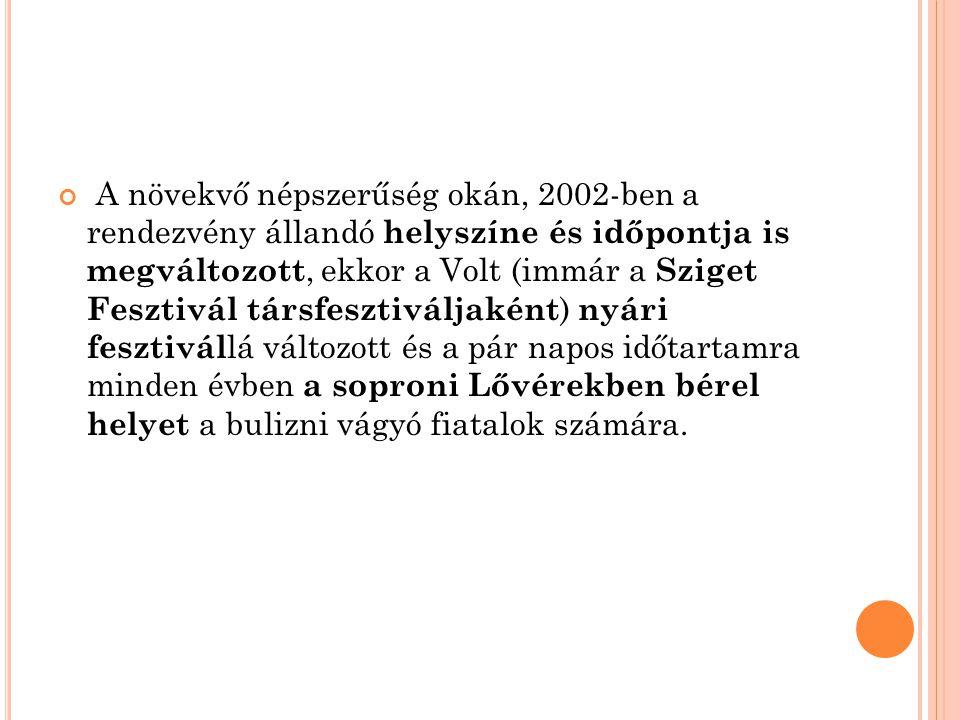 A növekvő népszerűség okán, 2002-ben a rendezvény állandó helyszíne és időpontja is megváltozott, ekkor a Volt (immár a Sziget Fesztivál társfesztiváljaként) nyári fesztivállá változott és a pár napos időtartamra minden évben a soproni Lővérekben bérel helyet a bulizni vágyó fiatalok számára.