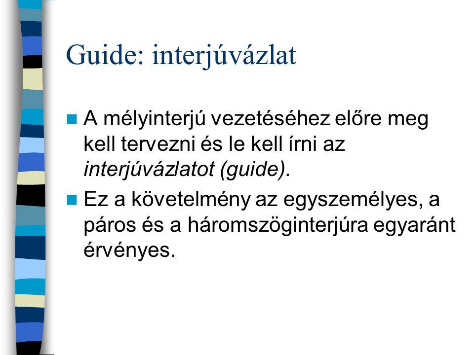 Guide: interjúvázlat A mélyinterjú vezetéséhez előre meg kell tervezni és le kell írni az interjúvázlatot (guide).